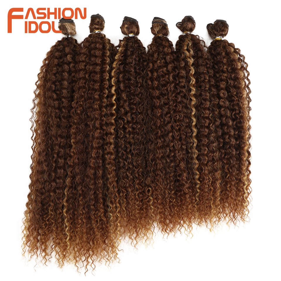 FASHION IDOL Black Brown Ombre Hair Afro Kinky Curly Hair Weaving 6 Bundles 18-22 Inch Synthetic Hair Extensions For Black Women