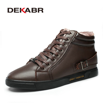 DEKABR Brand Men Boots Height Increasing 6cm Handmade Plus Fur Warm Snow Boots Real Leather Men Ankle Autumn Shoes Winter Boots