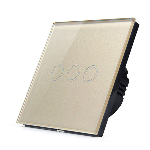 Manufacturers EU Gold Luxury Touch Switch LED Wall Light touch switch 220V 3 Gang 1 Way Crystal Tempered Glass Panel smart home eu touch switch led wall light touch switch 220v 3 gang 1 way waterproof crystal tempered glass panel