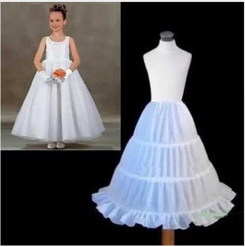 New 3 Hoops Crinoline Children Kid   Dress   Bridal Petticoat Ball Gown Underskirt Wedding Accessories For   Flower     Girl     Dress