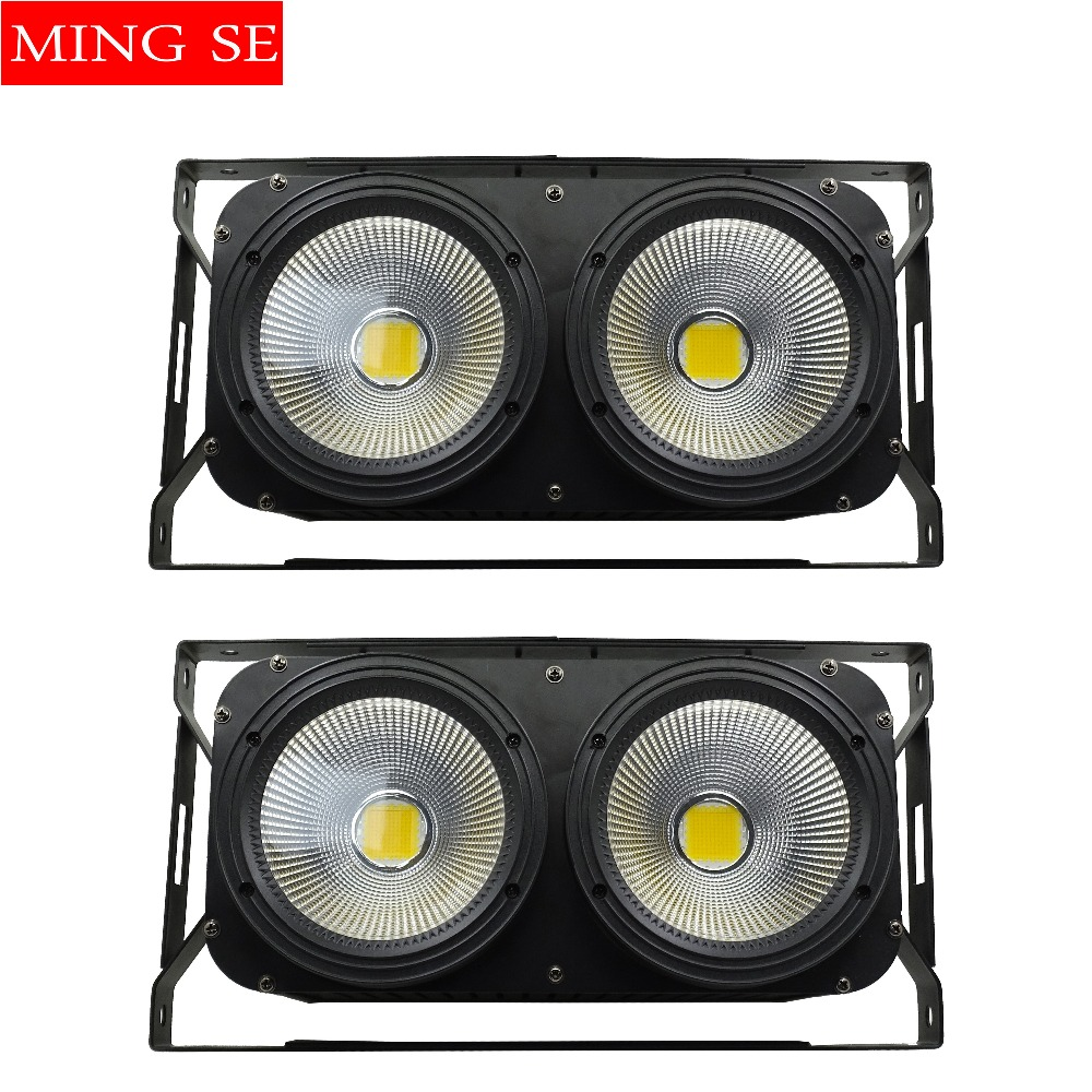 2pcs/lots 2x100W LED COB 2eyes Blinder Lighting DMX Stage Lighting Effect Club Show Night DJ Disco Professional Stage Light blinder led cob 4x100w led blinder light 400w dmx512 2 channels cold warm white blinder stage effect lighting dj party led lamp