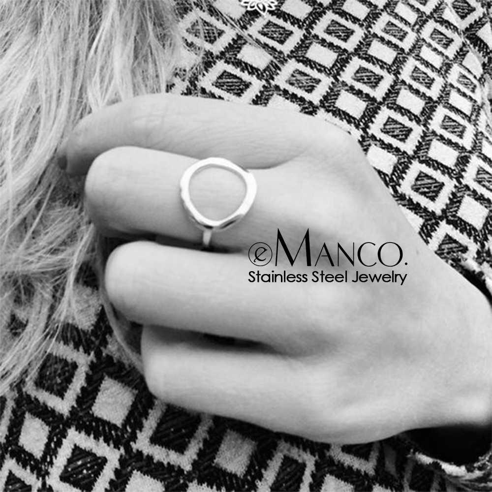 E - Manco อินเทรนด์แหวนสแตนเลสสำหรับสตรี Vintage Geometric pinky แหวน Dainty stackable รอบ midi แหวนเครื่องประดับ