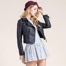 New arrival Women Pu Leather Short Jacket Slim Fashion Punk Outwear Plus Size turn-down collar Long Sleeve Jacket outwear T416
