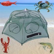 80cm Foldable Fishing Bait Net Trap Cast Dip Cage Crab Fish Minnow Crawdad Shrimp Fish Minnow Crawdad Shrimp Zipper Design carry