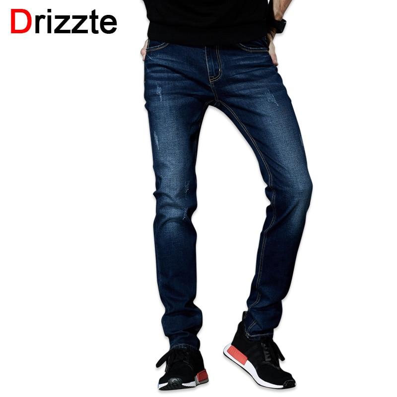 ФОТО Drizzte Mens Jeans 2016 New Fashion Designer Plus Size 33 34 35 36 38 40 42 44 Men's Stretch Slim Denim Jeans Trousers Pants