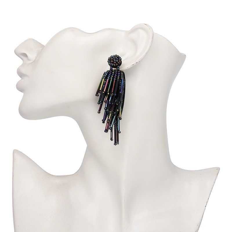 2019 Oorbellen חדש ארוך קריסטל טאסל drop עגילים לנשים בוהמי boho תכשיטים בולגריה tiffan הודי תכשיטים