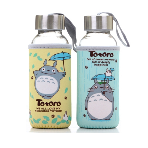 2pcs 300ml Cartoon Lovely Totoro Drinking Cups Coffee Tea Mug sets transparent lid glass water seal portable cup anime in Action Toy Figures from Toys Hobbies