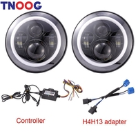 TNOOG For Jeep Wrangler 7 LED Headlights RGB Dreamy Halo Angel Eye With Bluetooth APP Control