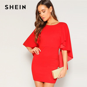 Image 2 - SHEIN Sexy Open Back Cloak Sleeve Summer Mini Dress Women Glamorous Round Neck Slim Fit Solid Night Out Party Dress