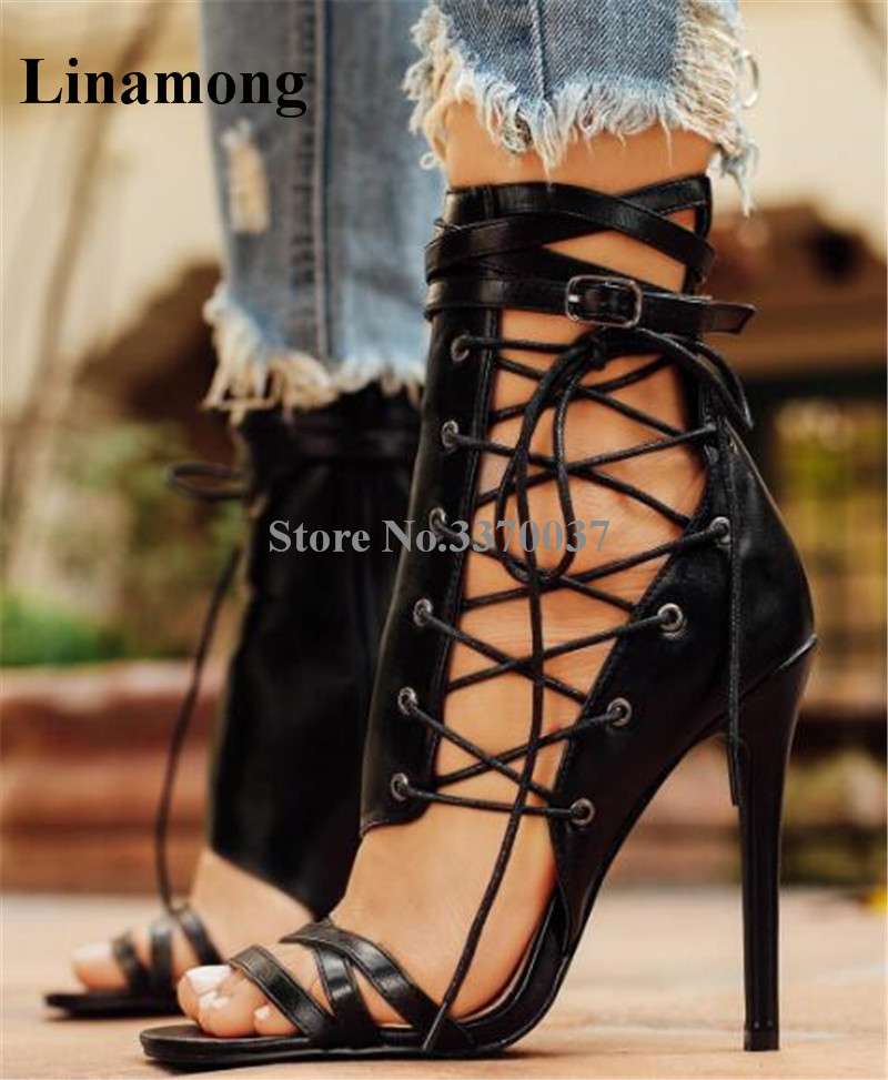цена 2018 New Fashion Women Charming Open Toe Side Lace-up Gladiator Sandals Cut-out Leather High Heel Sandals Dress Shoes