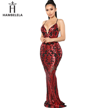 HAMBELELA Sexy Sequined Maxi Party Dress Stretch Floor Length Sequins  Backless Mesh Bodycon Dress V Neck db2244600a01