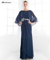 Lakshmigown Женская Темно синие мама невесты или жениха платья с шалью элегантная Свадебная вечеринка шифон Длинные бисером талии