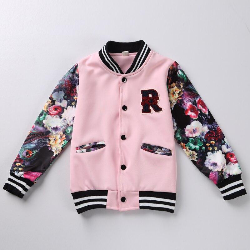 Spring Baby Girl Clothes Girls Children Clothing Kids  jackets Long Sleeves Winter Flower Baseball Jacket Sport coat 2 color