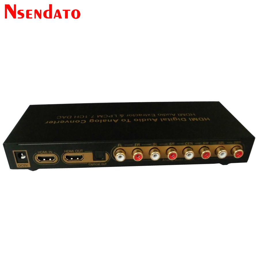 HDMI Digital Audio to Analog Converter HDMI To HDMI Audio Extractor adapter 7.1CH LPCM DAC HDMI to 7.1 Channel Audio Converter