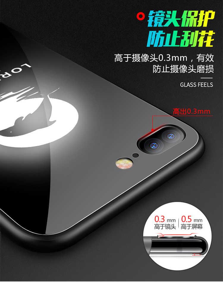 إطار زجاجي قوي للهاتف المحمول آيفون 6 6s 7 8 Plus X لديها شعار LED فلاش الزجاج الفاخر حقيبة لهاتف أي فون X الغطاء الواقي للهاتف