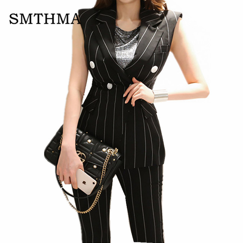 New Blazers Suit stripe  Women Pants Suits 2 Two Piece Sets Slim Jacket & Pants Female High quality Sleeveless summer Lady Suit
