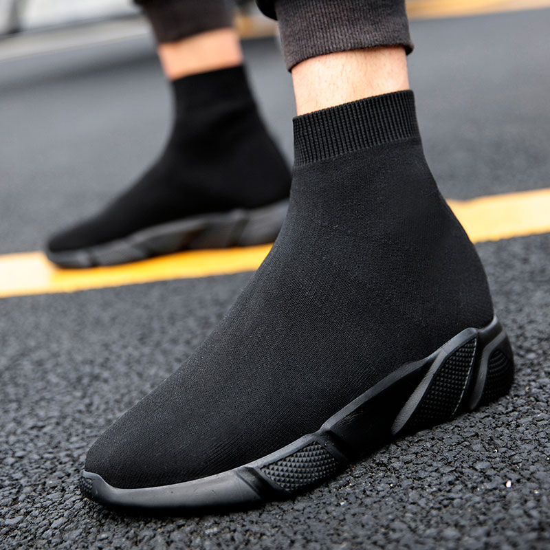 MWY Fashion Trend Couple Socks Boots Shoes High Top Lace Up Men Breathable Winter Casual Shoes Schoenen Thick Soled Ankle BootsBasic Boots   -