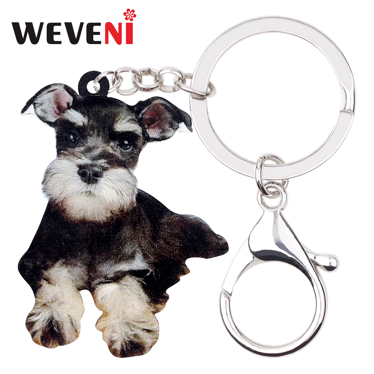 WEVENI Acrylic Cute Schnauzer Dog Key Chains Keychains Rings Animal Jewelry For Women Girls Bag Wallet Pendant Charms Wholesale