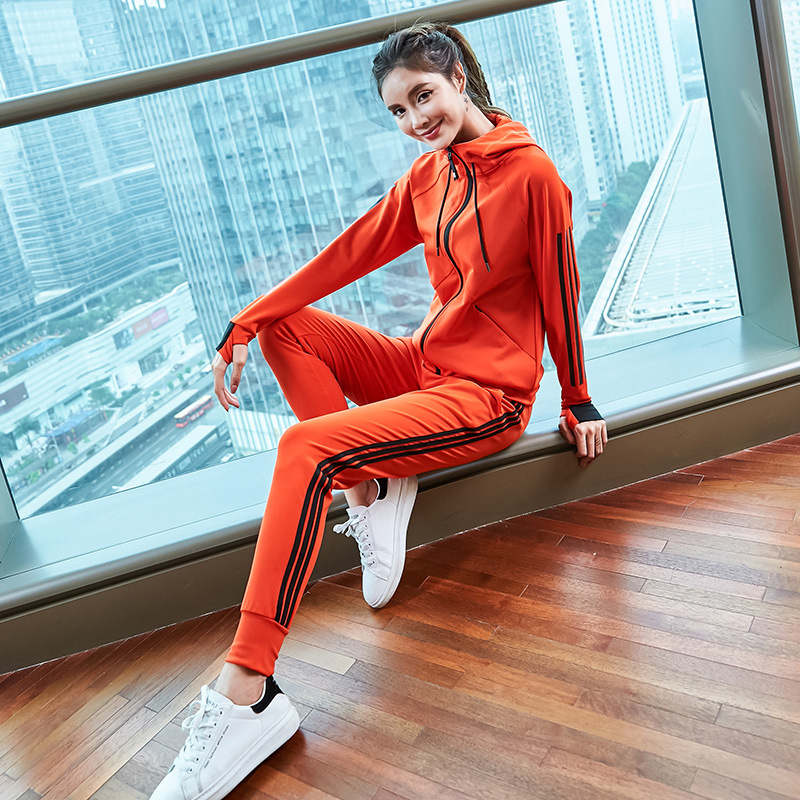 spring women sportswear tracksuit zip up hooded jacket sweatshirt+pants running jogging casual fitness gym outfit set sport suit 1