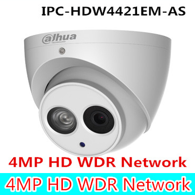 original Dahua 4MP HD WDR Network Small IR Dome Camera IPC-HDW4421EM-AS built in mic poe ip camera