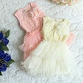 New,girls princess dress,children summer vest dress,lace flowers,ball gown,sleeveless,4 pcs / lot,wholesale kids clothing,0375