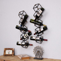 Retro Wrought Iron Wine Rack Restaurant Bar Wall Decoration Wine Holder American Style Wall Decoration Wall Mounted Wine Rack