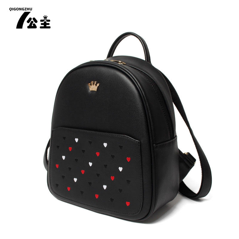 Vintage Casual New Style Leather School Bags High Quality Women Black Ofertas Famous Designer Brand Backpack SMYQGZ-A0005 high quality iron wire frame sun glasses women retro vintage 51mm round sn2180 men women brand designer lunettes oculos de sol