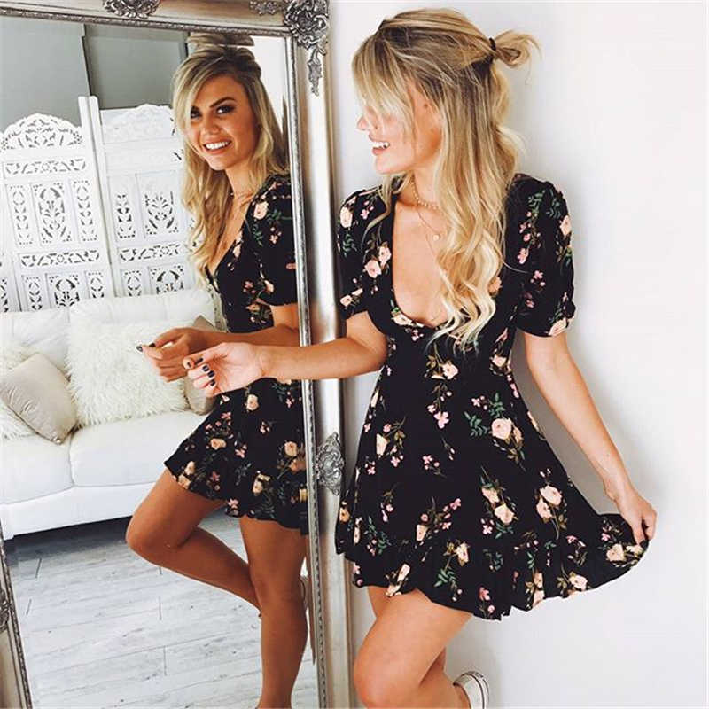 2019 летние женские сексуальные мини-платья в богемном стиле с цветочным принтом, пляжные платья с коротким рукавом и v-образным вырезом, вечерние платья в богемном стиле