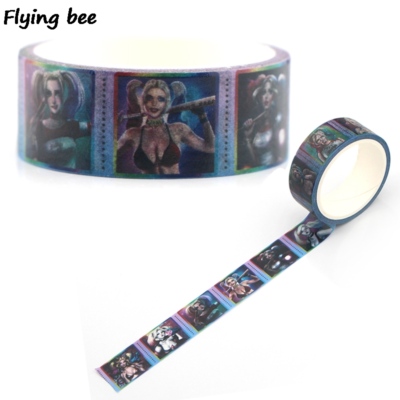Flyingbee 15mmX5m Paper Washi Tape Suicide Squad Adhesive Tape DIY Harley quaid Sexy Scrapbooking Sticker Masking Tape X0341