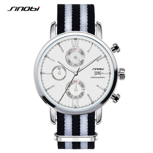SINOBI 2016 hombres de la marca de reloj de cuarzo Clásico cinturón de nylon Ocasional reloj hombre Automático calendario realmente tres pequeño dial erkek kol saati