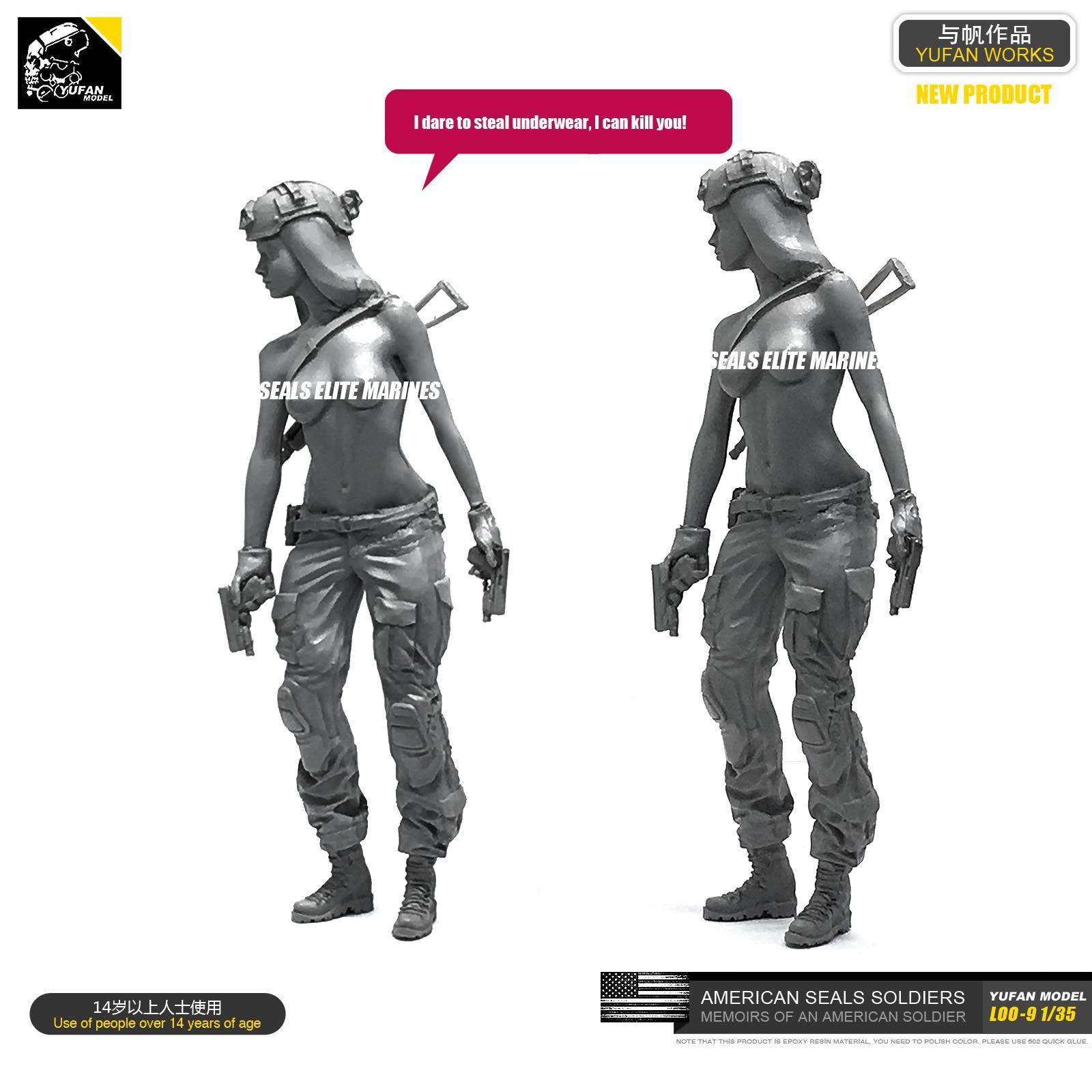 Yufan  Model 1/35 Figure Model Kit American Seal Commando Resin Female Soldier Unmounted Loo-09