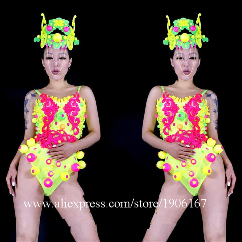 Sexy Lady Catwalk Shows Women Ballroom Costume Suit Headwear Dance Singer DJ Stage Cabaret Performance Clothes coverall