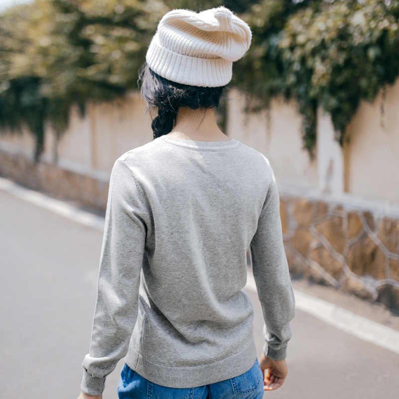 Suéter tejido cuello redondo sección delgada bordado nuevo otoño para mujer
