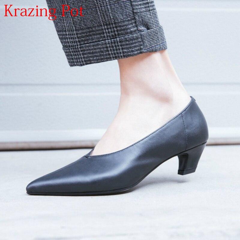 2019 Fashion Genuine Leather Brand Spring Shoe Strange Style Med Heel Pointed Toe Women Pumps Elegant