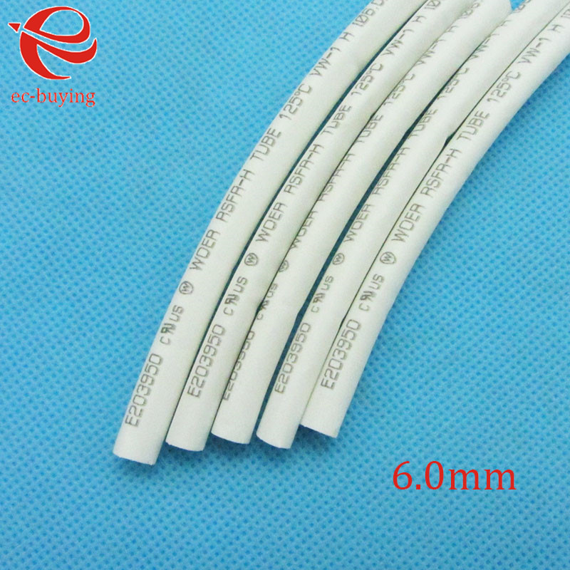 Heat Shrink Tube White Tube Heat-Shrink Tubing Diameter 6mm Thermo Jacket Wire Wrap Insulation Materials  Element 1meter /lot
