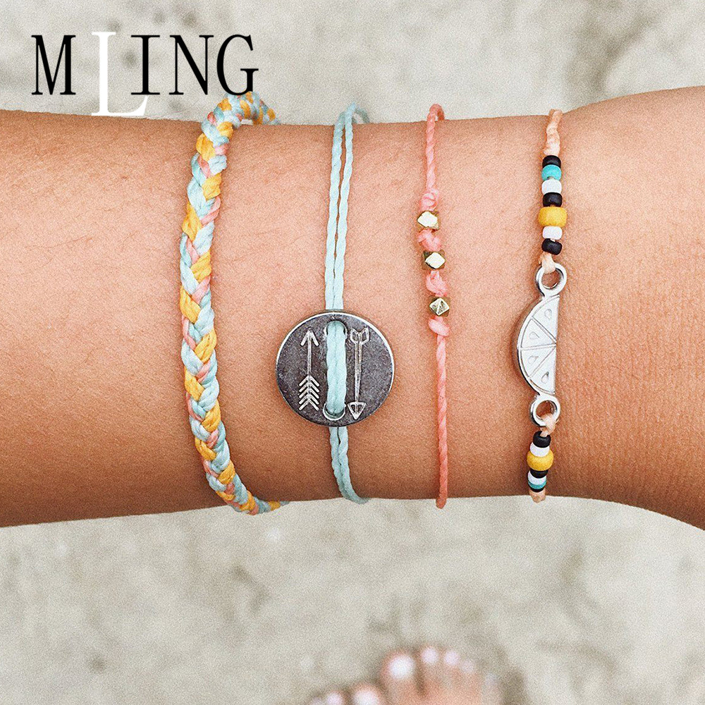 MLING 4 Pcs/Set Boho Weave Bracelet Arrow Totem Round Watermelon Set For Women Female Fashion Jewelry