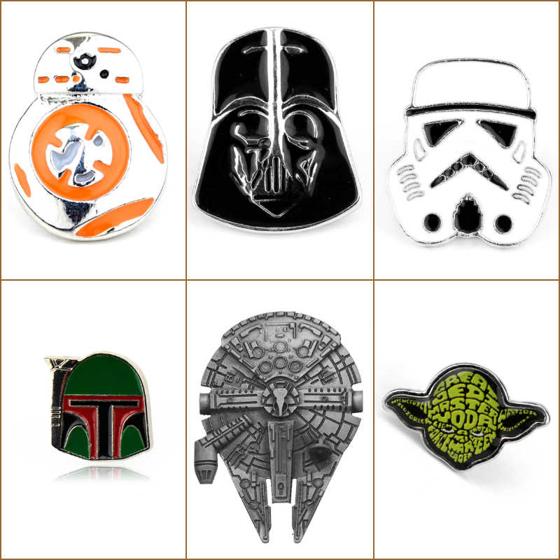 Hot star Wars Stormtrooper Spilla Spille star Wars Darth Vader Rebel Alliance Millennium Falcon Spilla gioielli distintivo