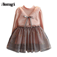 Berngi חורת שמלה מזדמן שמלות חדשות לילדים שמלת נסיכת בגדי ילדי שרוול ארוך ורוד עיצוב Bowknot פו שני חלקים ילדה