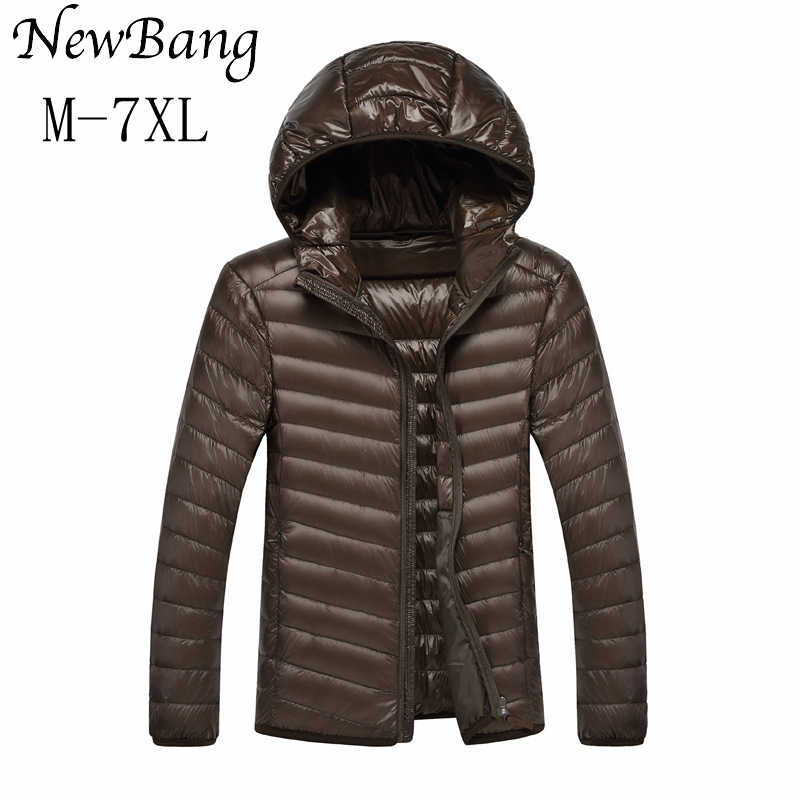 NewBang 5XL 6XL 7XL Men Ultra Light Duck Down Jacket Lightweight Feather Hoodies Coat Outwear Plus With Carry Bag Large Size
