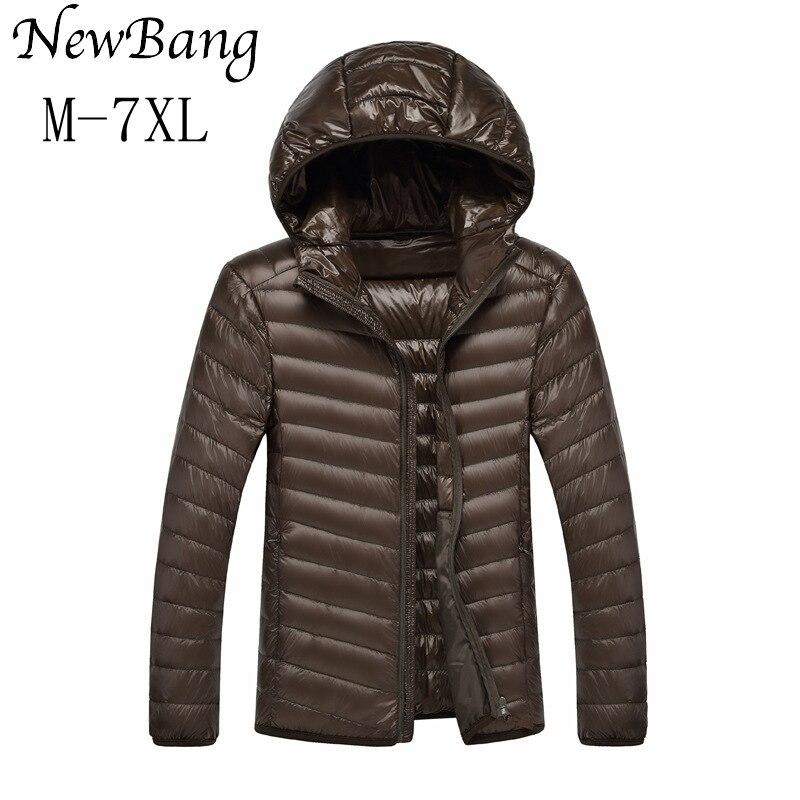 NewBang 5XL 6XL 7XL Men Ultra Light Duck Down Jacket Lightweight Feather Hoodies Coat Outwear Plus With Carry Bag Large Size