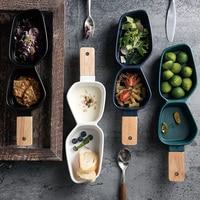 Nordic Tableware Ceramic Multi fruit Bowl Hotel Creative Flavoring Snack Melon Seeds Nut Chips Dish Natural Wood Handle