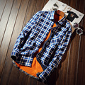 2016 winter  thickening  plaid shirt male long-sleeved shirt plus size youth office business casual shirt men casual male shirts
