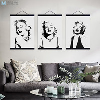 Aquarelle Noir Blanc Marilyn Monroe Pop Film En Bois Encadrée Toile Peinture Home Decor Wall Art Image D'impression Affiche Cintre
