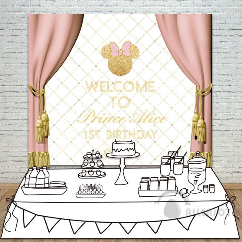 Allenjoy princesse anniversaire toile de fond bébé douche 1st inviter célébrer fête rose rideau arc table bannière photocall fond