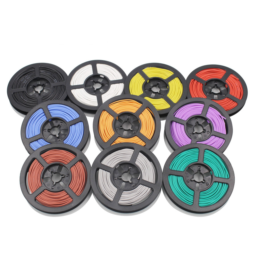 100m/lot 30 AWG Flexible Silicone Wire RC Cable 11/0.08TS Outer Diameter 1.2mm Electronic Wire Conductor DIY 10colors