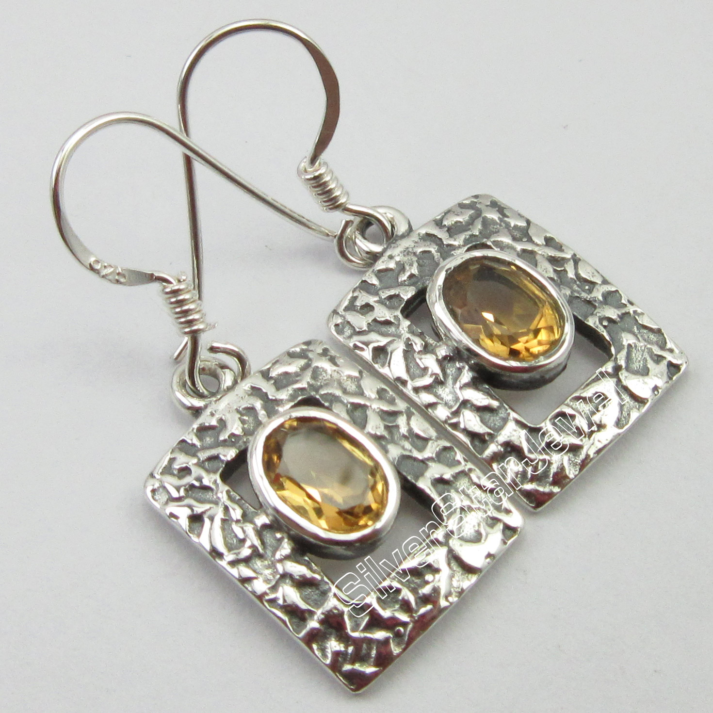 Chanti International OLD STYLE !! SOLID Silver YELLOW Cut Citrines GIRLS DANGLING Earrin ...