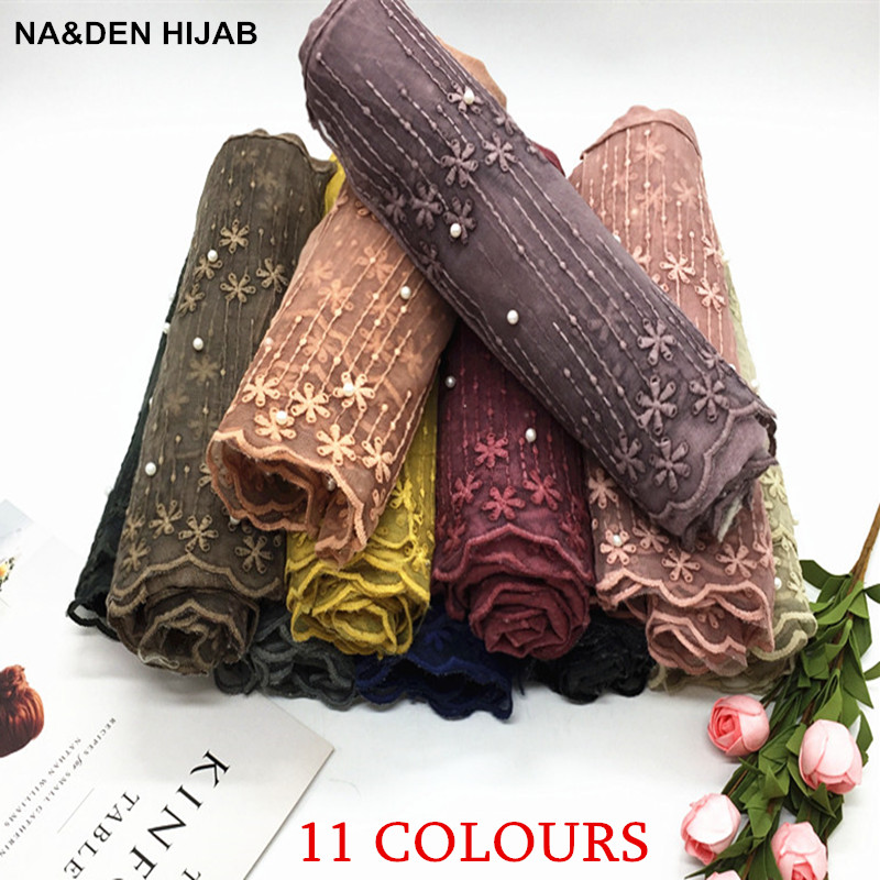 Lace pearls womens scarf soft solid Flower embroidery hijabs New style high quality big pashmina Muslim