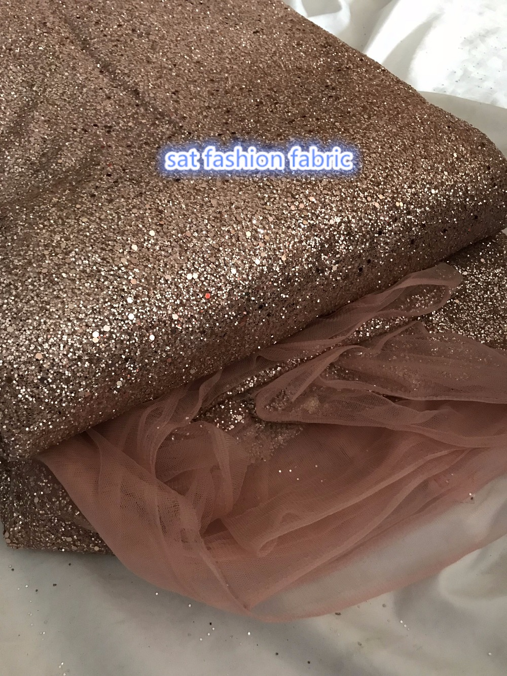 rose gold SAT 666 1 glued print glitter tulle african Indian net lace fabric 5yards for