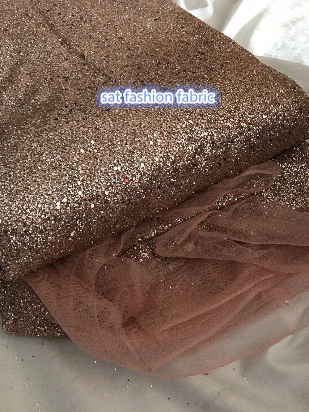 Różowe złoto SAT 666 1 klejony nadruk z nadrukiem tiul afrykański indyjski netto koronki tkaniny 5 metrów dla nicea sukienka w Koronka od Dom i ogród na  Grupa 1