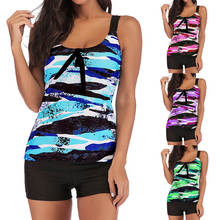 Women Plus Size Gradient Tankini Bikini Swimwear Summer Beach Swimsuit Bathing Suit Back Cross Ladies Swim Clothes 2018